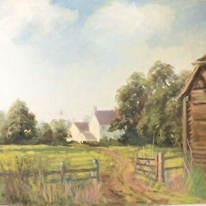 English School oil painting landscape rural impressionist 20th century
