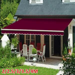 Patio Awning Manual Garden Canopy Sunshade Retractable Shelter Shade 2.5*2M UK