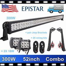 "52"" 300W+4""18W LED Light Bar+Mounting Bracket+2X Wiring Kit For Jeep Wrangler JK"