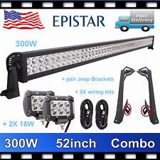 "52"" 300W+4""18W LED Light Bar+Mounting Bracket+2X Wiring Kit Jeep Wrangler JK HOT"