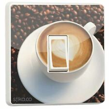 Coffee Cup Cappuccino Beans Light Switch Sticker vinyl skin cover cafe kitchen
