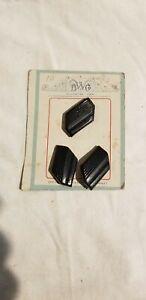 """3 Vintage BWG Black Ridged Carved Bakelite? Buttons 1 1/8""""  w/Orig Card"""