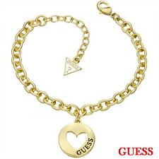 Guess Damen Armband Armkette Schmuck Edelstahl Gold Strass UBB51435