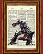 Optimus Prime Transformers Dictionary Art Poster Picture Vintage Book Page