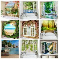 Window Flower Scenery Tapestry Home Wall Hanging Art Landscape Print Tapestries