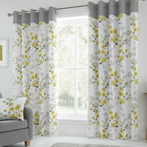 Paige Ready Made Lined Eyelet Curtains Ochre