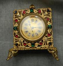 Vintage B & G Austria Jeweled Golden Filigree Square Boudoir Vanity Clock AS IS