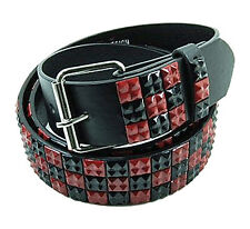 Men's Designer Belt, Studded (New XL) Black & Red Genuine Quality Italian Design