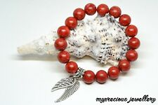 Red Coral Natural Gemstone Bracelet Stone 10mm Silver Wings Healing Reiki SALE!!