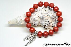 Red Coral Natural Gemstone Bracelet Stone 10mm Silver Wings Healing Reiki SALE!!