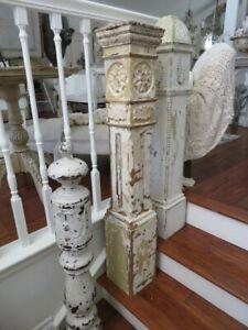 OMG Old Vintage Salvaged WOOD NEWEL POST COLUMN Incredible Design Patina 4' Tall