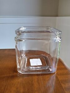 Rustic clear glass cube vase/pot