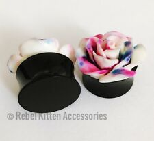 Purple Tye Dye Rose Flower Flared Plugs 18mm 11/16 Inch Pair Of White Pink Blue