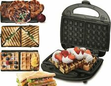 Macchina waffle piastra Tostapane cialde Panino Sandwich Grill 3 IN 1 ELETTRICO