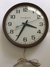 Mid Century General Electric School Industrial Wall Clock Model 2012 Glass Face