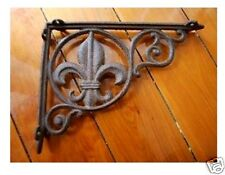 Fleur de Lis Cast Iron Shelf / Corner / Wall Bracket Rustic Brown