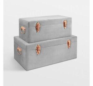 Storage Trunks Set of 2 Chests Grey Velvet Rose Gold Case Box Organiser