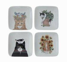 "Creative Co-Op DA9452A 5"" Square White Stoneware Plate with Cat & Birds 4 Styles"