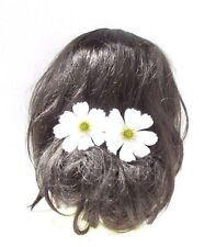 2 x Large White Daisy Flower Hair Grips Clips Bobby Pins Slides Bridesmaid 2765