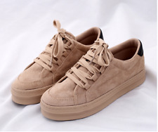 Women's Brown thick bottom lace up fashionable casual shoes