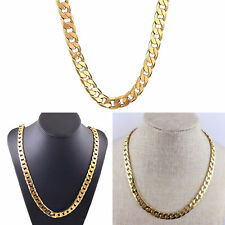 Fashion Hip Hop Women Men 18K Gold Plated Necklace Chain Jewelry Unisex Gift
