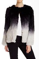 $951 CLIQUE COUTURE/Dawn Levy NEW Ombre Rabbit Fur Jacket M Coat Black/Gray NWT
