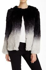 $1K NWT Clique Couture/Dawn Levy Ombre Rabbit Fur Jacket/Coat  M Black/Gray CHIC
