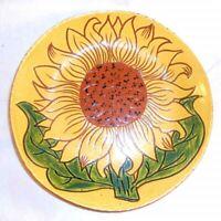 "1995 Breininger Redware Sgraffito Decorated Glazed 7"" Pie Plate Sunflower Design"