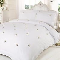 ALICIA FLORAL WHITE / YELLOW KING SIZE DUVET COVER SET EMBROIDERED BEDDING