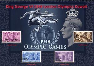 KING GEORGE VI NICE USED DISPLAY OF 1948 LONDON OLYMPICS KUWAIT MINT MNG