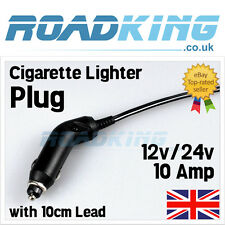 12v 24v Car Cigarette Lighter Socket Plug Connector 10 Amp Fuse & LED 14cm lead