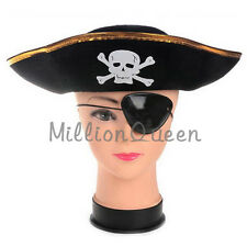 Funny Pirate Hat Welcoming Halloween Carnival Golden Brim Cosplay Skull Pattern