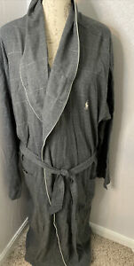 RALPH LAUREN POLO NWT Men's Gray Plaid Belted Flannel Robe- Size  L/XL