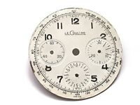 lecoultre 3 register chronograph white face watch dial