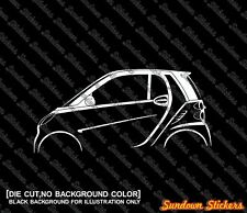 2x car silhouette stickers - for Smart Fortwo coupe W451, 2007–2014
