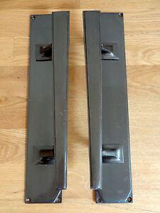 ANTIQUE BRASS FINISH ART DECO DOOR PULL HANDLES (PAIRS) KNOBS LARGE PLATES PUSH