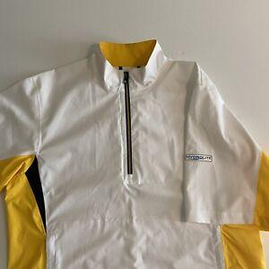 FootJoy FJ HydroLite Mens Medium S/S 1/4 Zip Yellow/White Pullover EUC
