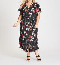 Plus Size Autograph Black / Red & White Floral Maxi Dress-Flutter Sleeve Size 18