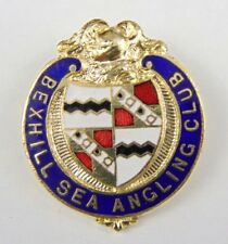 Rare Vintage Enamel Bexhill Sea Angling Club Pin Badge - Fishing - east sussex