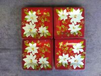"""Laurie Gates Hisbiscus Salad Plates Luncheon Floral 8.5"""" Set of 4"""