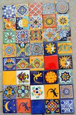 "40 Mexican Talavera Tiles handmade, Hand painted 2 ""X 2"""