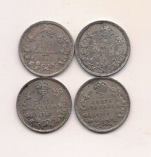 1911,1912,1913,1914 Canada  Five Cents--Full Crown !!