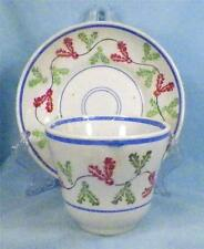 Antique Cup & Saucer Handleless Red Green Sponge Decorated Leaves A Beauty