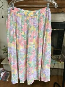 ALFRED DUNNER W0MENS 20W PLEATED PASTEL FLORAL PRINT CHIFFON SKIRT ELASTIC WAIST
