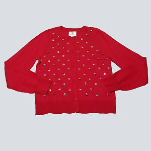Lands End Kids Girls Scarlet Red Sophie Sequin Dot Cardigan Sweater 7 8 New kg1