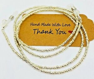 Quality Silver Glasses chain Beaded Lanyard Cord Strap Spectacles Sunglasses