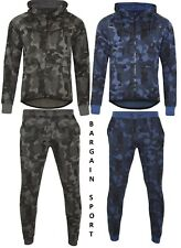 Mens Camouflage Slim Fit Camo Tracksuit Joggers Pants Bottoms & Zipper Hoody