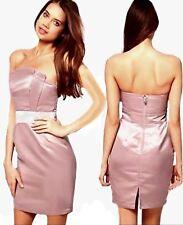Lipsy 12 Pink Satin Jewelled Waist Bandeau Bodycon Dress Opt Straps BNWOT.  R