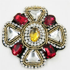 Handmade Cross patch/red Rhinestone/Beaded pearl Flower/Sew on/Embroidered Patch