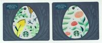 STARBUCKS Gift Card Die-Cut Easter Eggs - Feathers, Roses - LOT of 2 - No Value